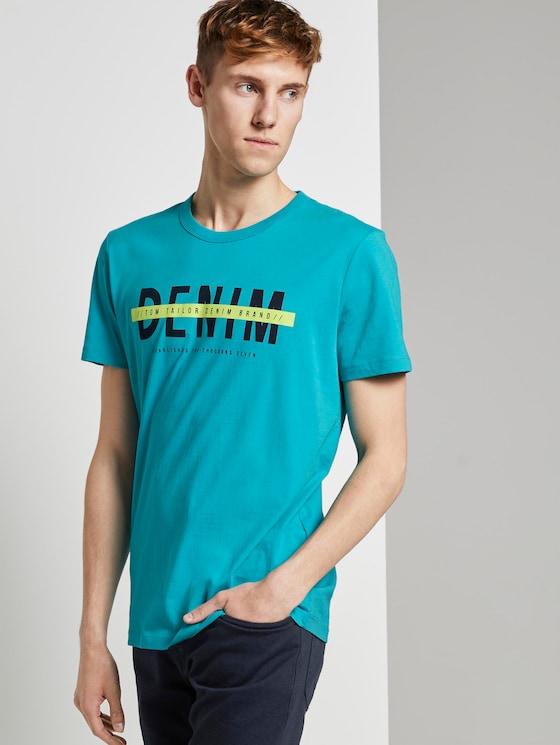 T-Shirt mit Schrift-Print - Männer - curacao blue - 5 - TOM TAILOR Denim