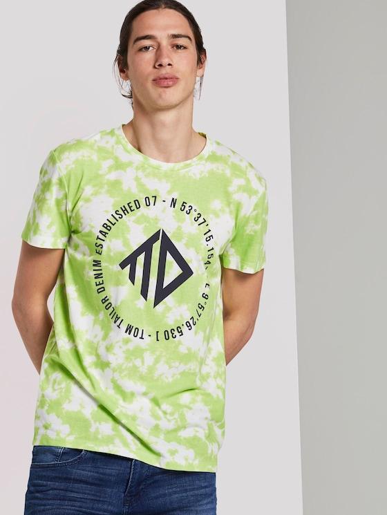 T-shirt in a batik look - Men - neon white batik print - 5 - TOM TAILOR Denim