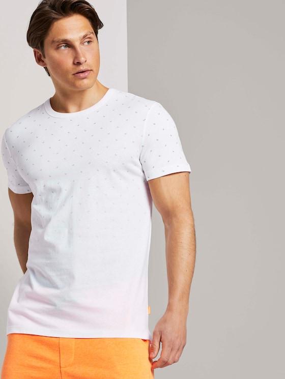Gemustertes T-Shirt - Männer - white small wave print - 5 - TOM TAILOR Denim