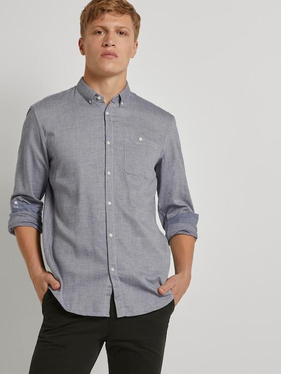 Hemd mit Turn-Ups und Brusttasche - Männer - blue white dobby structure - 5 - TOM TAILOR Denim
