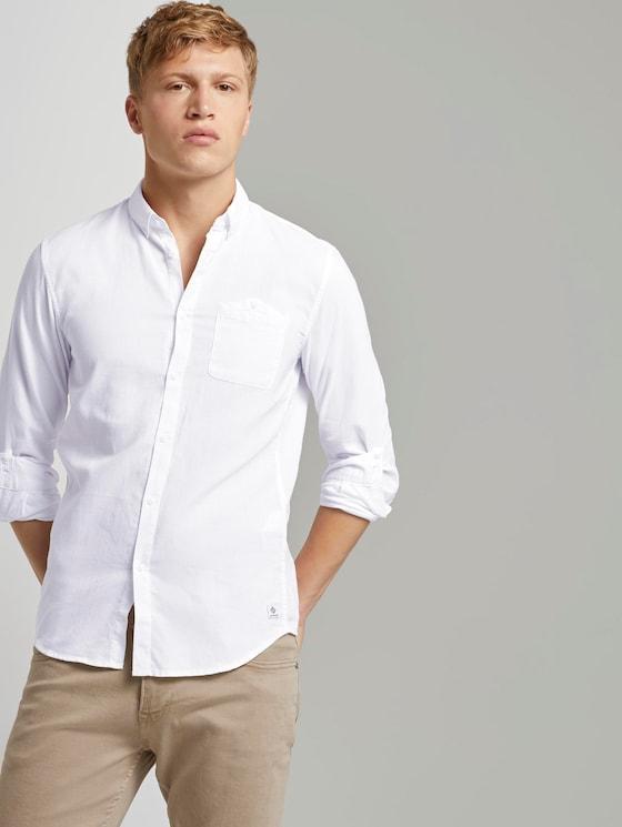 Hemd mit Turn-Ups und Brusttasche - Männer - white dobby structure - 5 - TOM TAILOR Denim