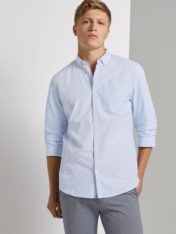 Hemd mit 3/4-Arm - Männer - light blue slub stripe - 5 - TOM TAILOR Denim
