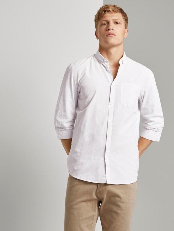 Hemd mit 3/4-Arm - Männer - white grey slub stripe - 5 - TOM TAILOR Denim