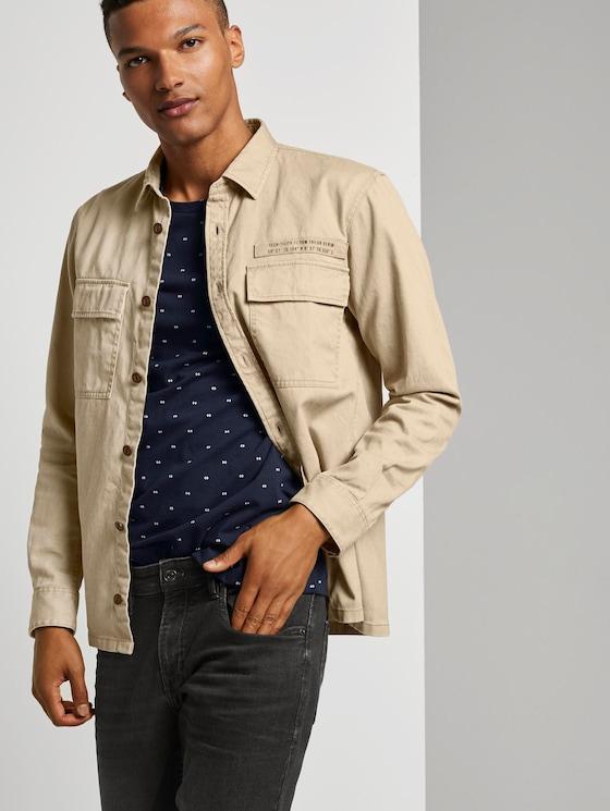 Lockere Hemdjacke mit Brusttaschen - Männer - Smoked Beige - 5 - TOM TAILOR Denim