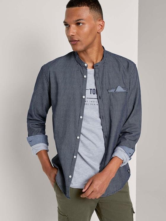 Gemustertes Hemd mit kurzem Stehkragen - Männer - blue mini jaquard pattern - 5 - TOM TAILOR Denim