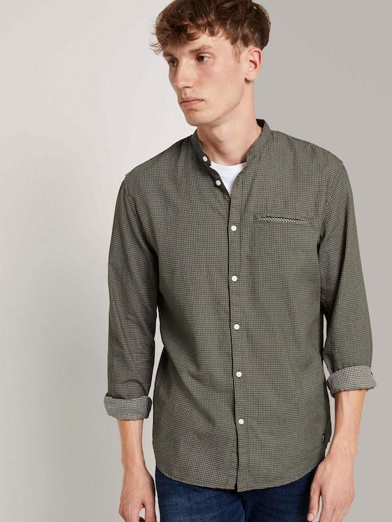 Gemustertes Hemd mit kurzem Stehkragen - Männer - olive mini jaquard pattern - 5 - TOM TAILOR Denim