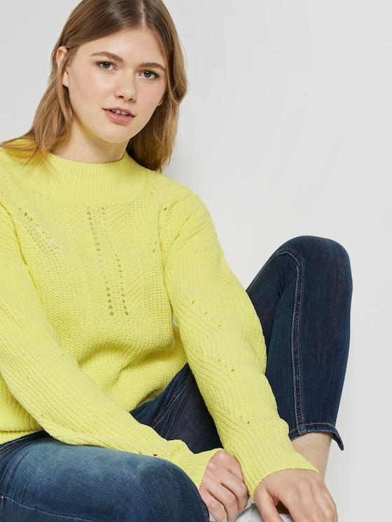 Chenille-Pullover - Frauen - light neon yellow - 5 - TOM TAILOR Denim