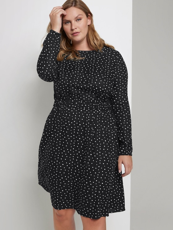 Dress with an elastic waist - Women - dark and white dot design - 5 - My True Me