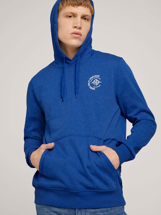 Hoodie mit Print - Männer - Shiny Royal - 5 - TOM TAILOR Denim