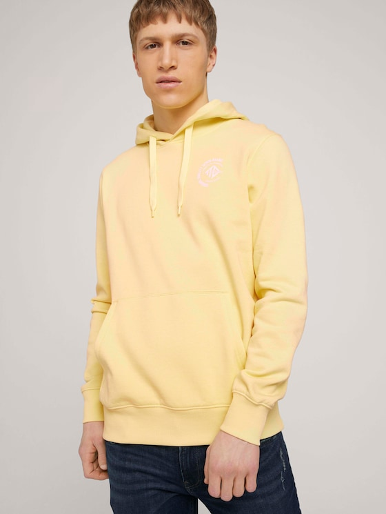 Hoodie mit Print - Männer - cream yellow melange - 5 - TOM TAILOR Denim