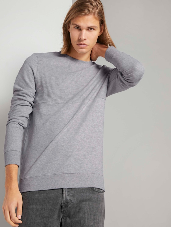 Sweatshirt mit Stepp-Struktur - Männer - Light Stone Grey Melange - 5 - TOM TAILOR Denim