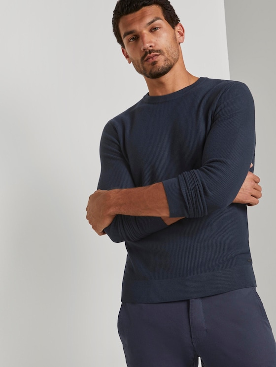 Pullover with a striped pattern - Men - Dark Blue - 5 - TOM TAILOR