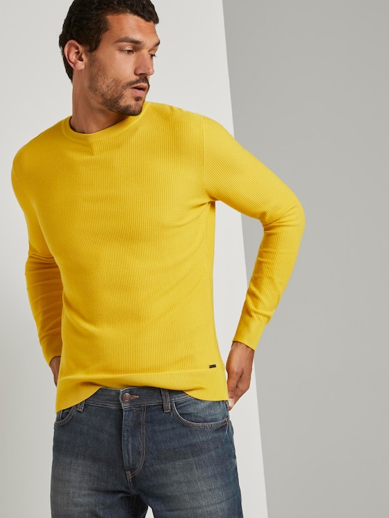 Pullover mit Streifenstruktur - Männer - Californian Yellow - 5 - TOM TAILOR