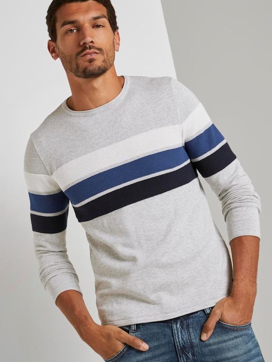 Striped pullover - Men - grey melange white blue stripe - 5 - TOM TAILOR