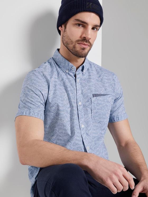 Gemustertes Kurzarmhemd mit Brusttasche - Männer - blue irregular striped design - 5 - TOM TAILOR