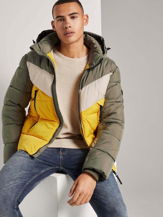 Puffer jacket with a detachable hood - Men - tri color colorblock - 5 - TOM TAILOR Denim