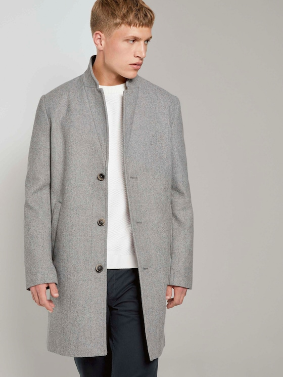 Moderner Mantel aus Wollgemisch - Männer - grey herringbone - 5 - TOM TAILOR Denim