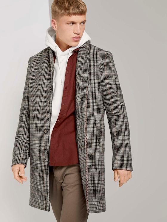 Moderner Mantel aus Wollgemisch - Männer - beige rust check - 5 - TOM TAILOR Denim