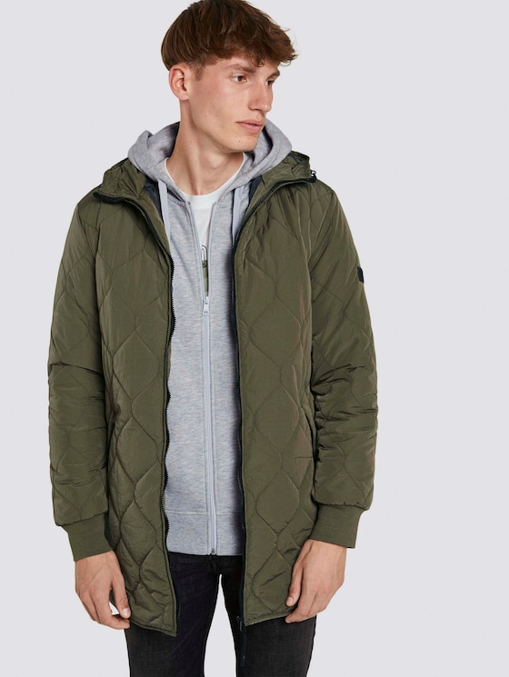 lightweight quilted jacket with a hood - Men - Olive Night Green - 5 - TOM TAILOR Denim