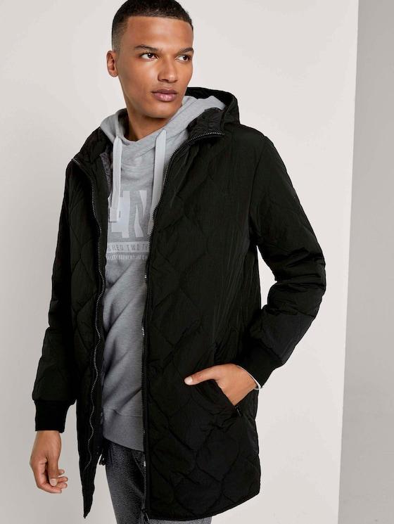 lightweight quilted jacket with a hood - Men - Black - 5 - TOM TAILOR Denim