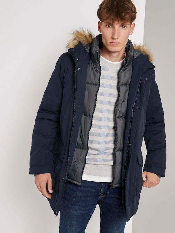 Winter parka with a faux fur trim - Men - Sky Captain Blue - 5 - TOM TAILOR Denim