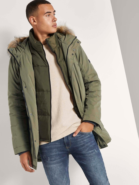 Winter parka with a faux fur trim - Men - Tree Moss Green - 5 - TOM TAILOR Denim