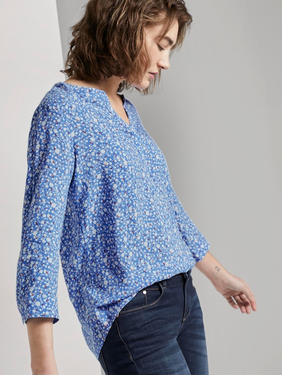 Gemusterte Bluse - Frauen - blue and white flower design - 5 - TOM TAILOR