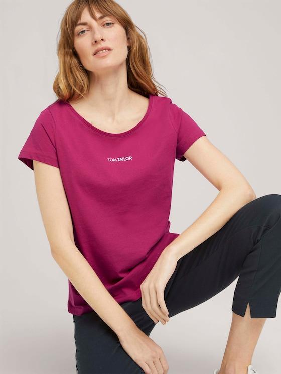 T-Shirt mit Logo Print - Frauen - Cherry Granita - 5 - TOM TAILOR