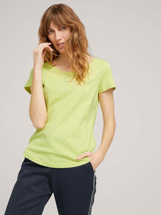 T-Shirt mit Logo Print - Frauen - celery ice - 5 - TOM TAILOR