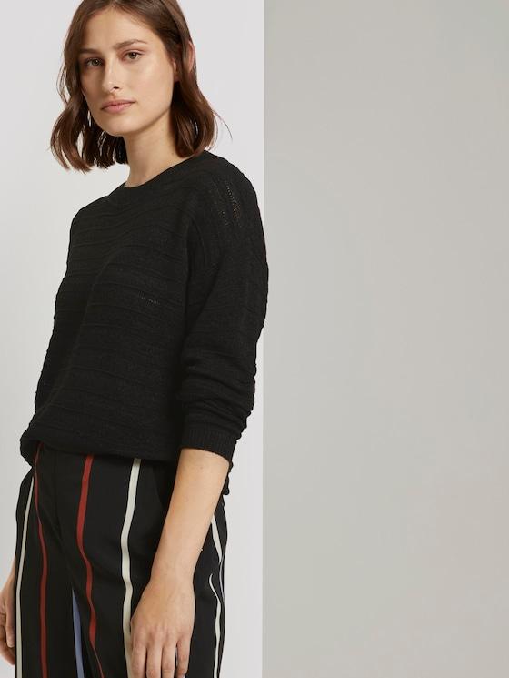 Pullover mit Strickmuster - Frauen - Deep Black - 5 - TOM TAILOR Denim