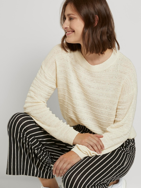 Pullover with a knitting pattern - Women - soft creme beige - 5 - TOM TAILOR Denim
