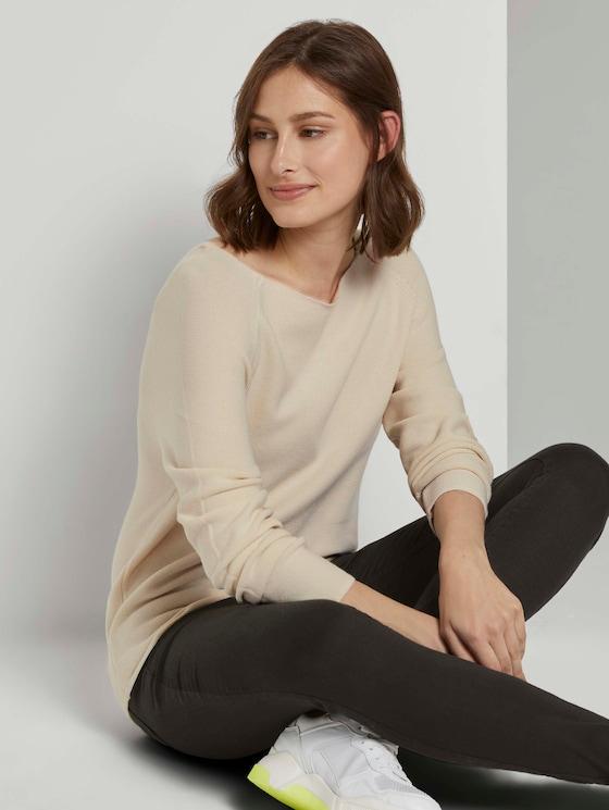 Strukturierter Pullover mit Raglan-Ärmeln - Frauen - soft creme beige - 5 - TOM TAILOR Denim