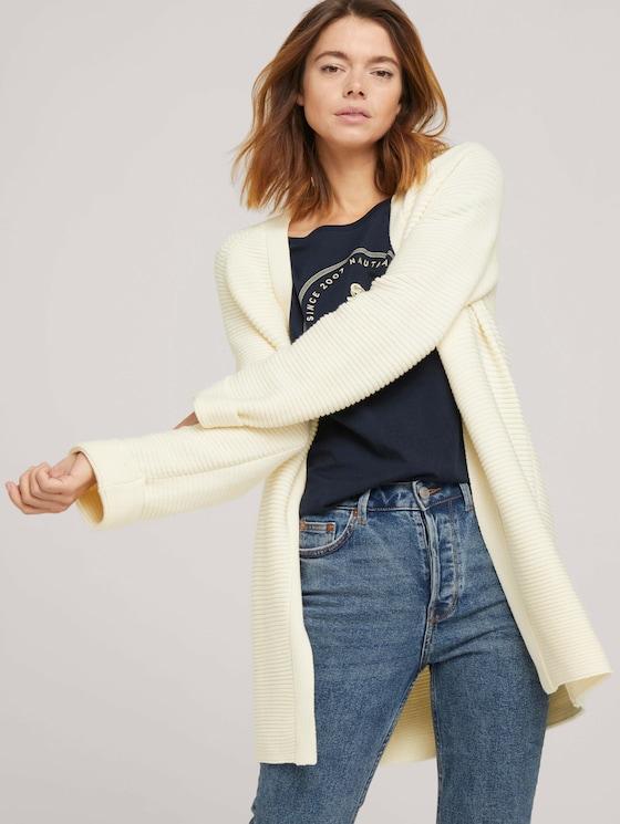 Strukturierter Cardigan-Mantel - Frauen - soft creme beige - 5 - TOM TAILOR Denim