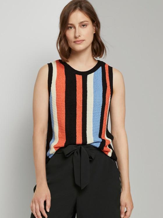 Ärmelloser Strickpullover mit Streifenmuster - Frauen - multcolor vertical stripe - 5 - TOM TAILOR Denim