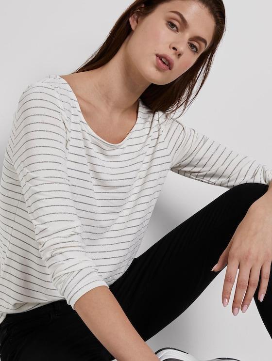 Gestreiftes Langarmshirt mit Glitzerfäden - Frauen - stripe offwhite lurex - 5 - TOM TAILOR Denim