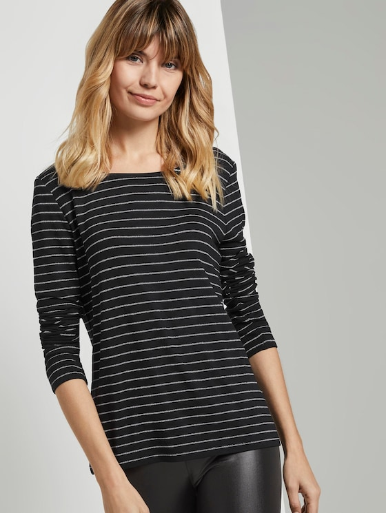 Gestreiftes Langarmshirt mit Glitzerfäden - Frauen - black lurex stripe - 5 - TOM TAILOR Denim