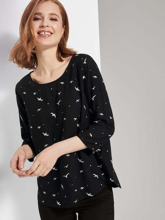 Gemusterte Bluse mit U-Boot-Ausschnitt - Frauen - black seagull print - 5 - TOM TAILOR Denim