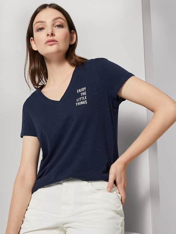 T-shirt with a small print - Women - Real Navy Blue - 5 - TOM TAILOR Denim