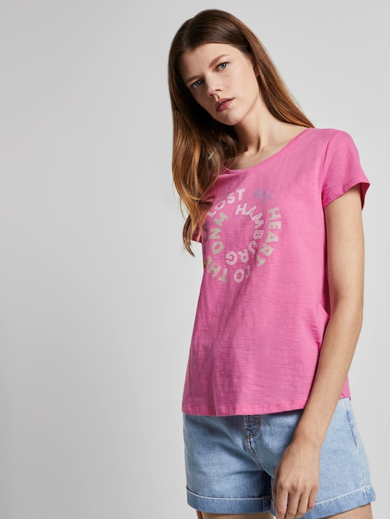 T-shirt with a letter print - Women - wild orchid pink - 5 - TOM TAILOR Denim