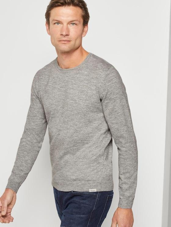 Melierter Pullover - Männer - light grey white mouline - 5 - TOM TAILOR