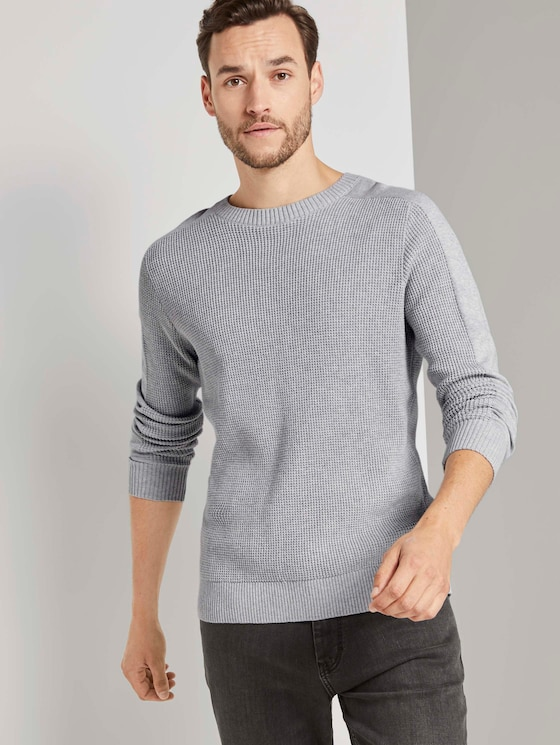 Strickpullover mit Ärmeldetail - Männer - Light Stone Grey Melange - 5 - TOM TAILOR