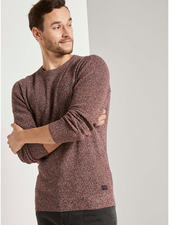 Multicolored Pullover - Männer - navy white mouline - 5 - TOM TAILOR