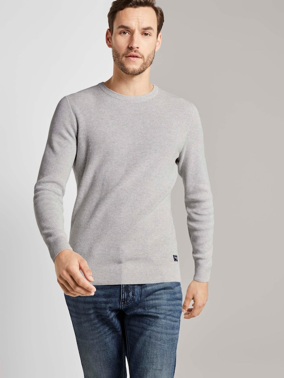 Multicolored Pullover - Männer - light grey white mouline - 5 - TOM TAILOR