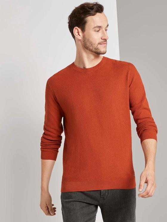 Fein strukturierter Pullover - Männer - Ginger Orange - 5 - TOM TAILOR
