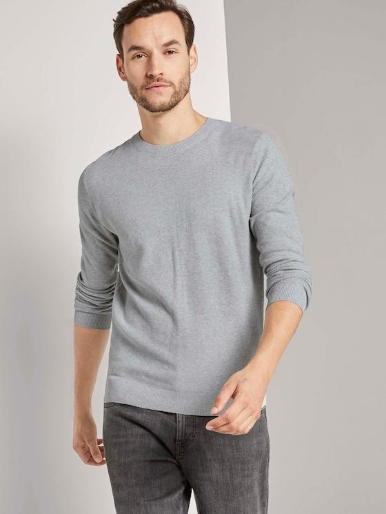 Fein strukturierter Pullover - Männer - Light Stone Grey Melange - 5 - TOM TAILOR