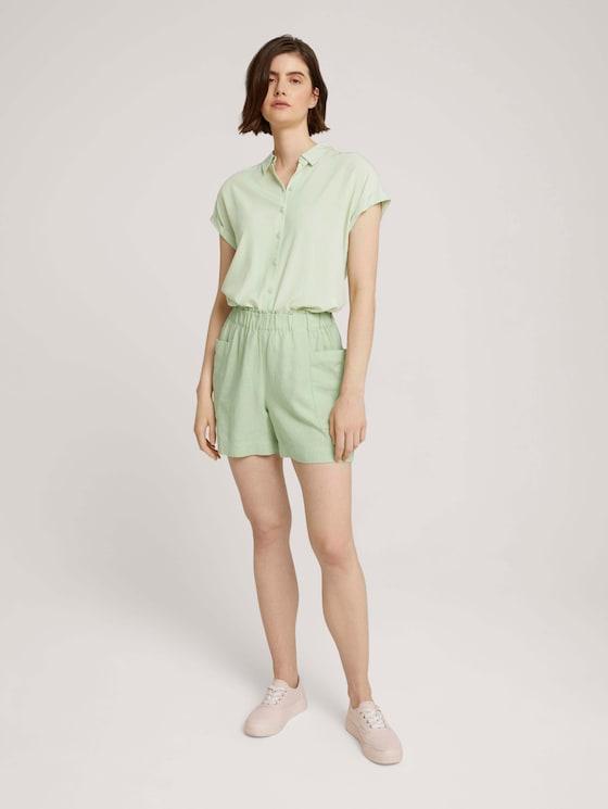 Paperbag Shorts mit Leinen - Frauen - light dusty green - 3 - TOM TAILOR Denim