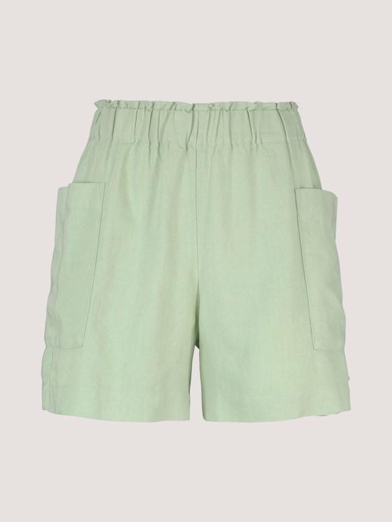 Paperbag Shorts mit Leinen - Frauen - light dusty green - 7 - TOM TAILOR Denim