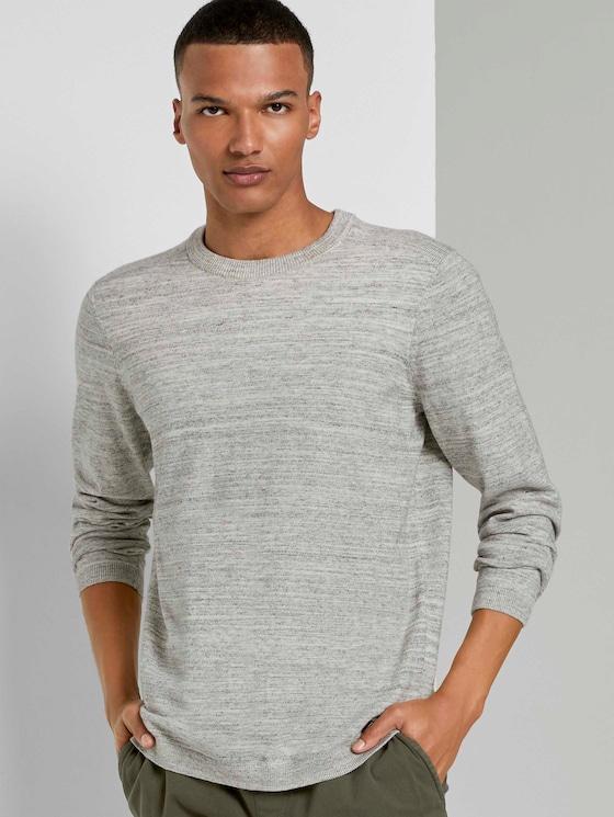 Melierter Pullover mit Ripp-Details - Männer - grey white space dye - 5 - TOM TAILOR Denim
