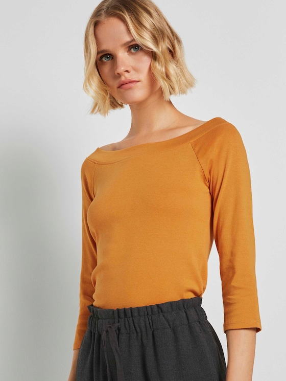 Schulterfreies Carmen Shirt - Frauen - orange yellow - 5 - TOM TAILOR Denim