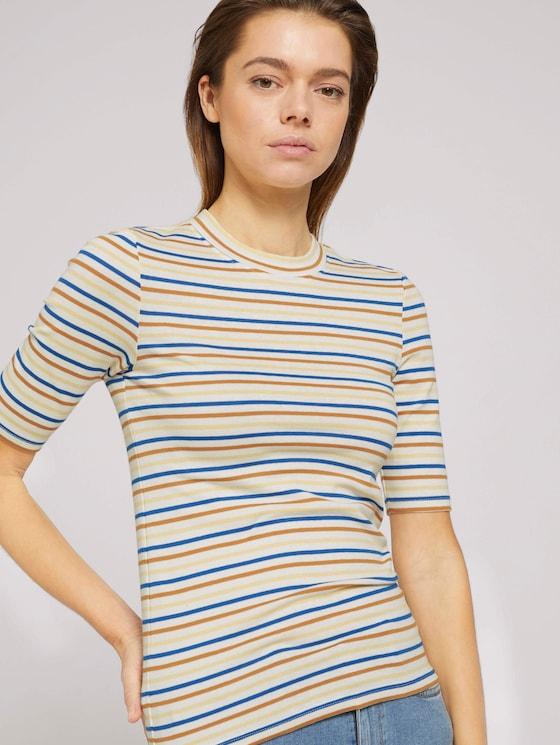 Gestreiftes T-Shirt mit kurzem Stehkragen - Frauen - creme blue yellow stripe - 5 - TOM TAILOR Denim